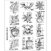 Stampers Anonymous Tim Holtz 7 x 8 1/2 Large Cling Stamp Set, Mini Blueprint