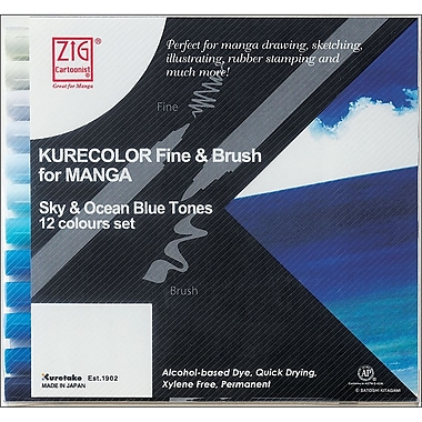 Zig 12 Piece Cartoonist Kurecolor Fine & Brush Dual Tip Markers, Sky and Ocean Blue Tones