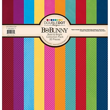 Bo Bunny Bold and Bright Double Dot Cardstock Collection Pack, 12