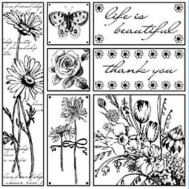 Magenta 4 1/4in. x 4 1/4in. Cling Stamp, Life is Beautiful