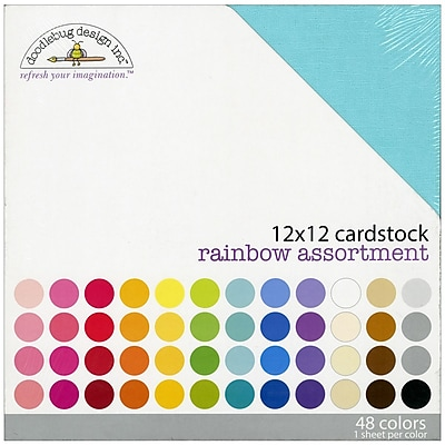 """""Doodlebug Rainbow Textured Cardstock, 12"""""""" x 12"""""""""""""" 299020"