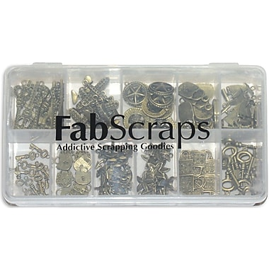 Fabscraps Boxed Charm 110 Pieces Embellishment Assortment, Old Brass 1