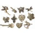 Fabscraps Boxed Charm 110 Pieces Embellishment Assortment, Old Brass 2