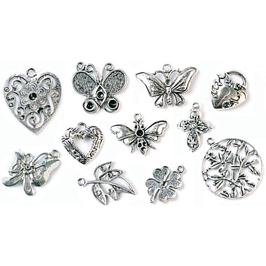 Fabscraps Boxed Charm 110 Pieces Embellishment Assortment, Old Silver 1