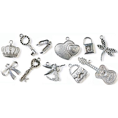 Fabscraps Boxed Charm 110 Pieces Embellishment Assortment, Old Silver 2