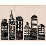 "Hero Arts® 3 3/4"" x 4 1/2"" Mounted Rubber Stamp, Newspaper Skyline"
