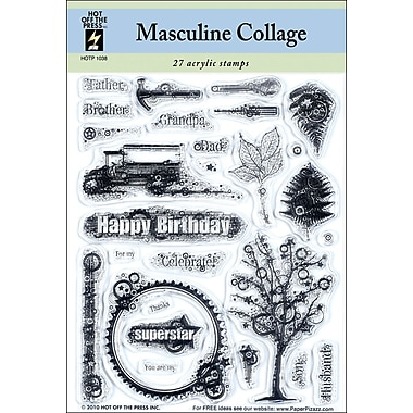Hot Off The Press 5 1/2in. x 7in. Stamp, Masculine Collage