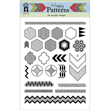 Hot Off The Press 6in. x 8in. Stamp, Happy Patterns