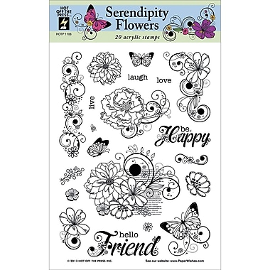 Hot Off The Press 6in. x 8in. Stamp, Serendipity Flowers