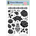 Hot Off The Press 6in. x 8in. Stamp, Flower Silhouettes