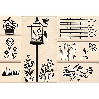 Inkadinkado® 4 1/2in. x 5in. Mounted Stamp, Flower Garden