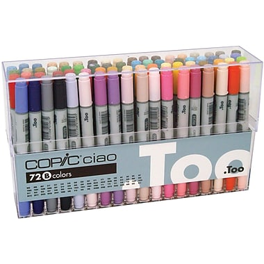 Copic Marker Ciao Brush Point Permanent Marker, Assorted, 72/Pack