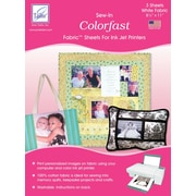 """June Tailor JT-900 Colorfast Sew-In 11""""L x 8.5""""W Fabric Sheets for Inkjet Printers, White, 3/Pack"""