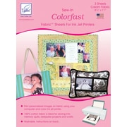 """June Tailor JT-980 Colorfast Sew-In 11""""L x 8.5""""W Fabric Sheets for Inkjet Printers, Cream, 3/Pack"""