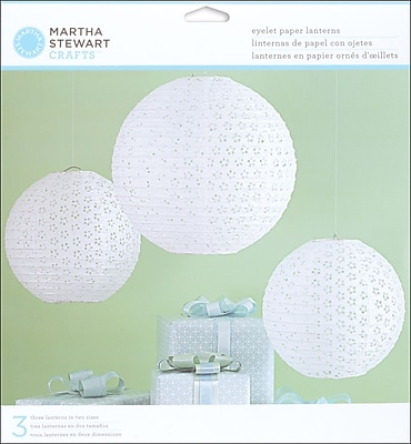 Martha Stewart Doily Lace Paper Lanterns Kit, White Eyelet, 3/Pack 299427