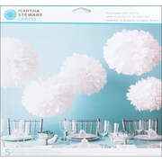 Martha Stewart Doily Lace Pom Pom Kit, White, 5/Pack
