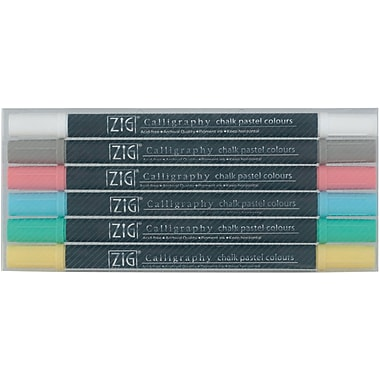 Zig Memory System 6 Piece Calligraphy Chalk Pastel Markers Set