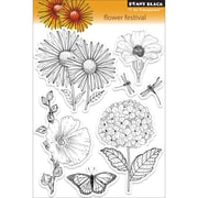 """Penny Black® 5"""" x 7 1/2"""" Clear Stamp, Flower Festival"""
