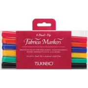 Tsukineko Fabrico Twin Tip Point Marker, Assorted, 6/Pack