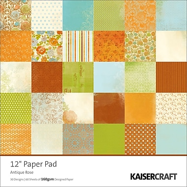 Kaisercraft Single Sided 160gsm Antique Rose Paper Pad, 12in. x 12in.