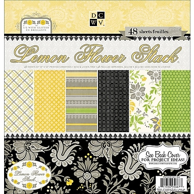 Diecuts With A View® Lemon Flower Paper Stack, 12in. x 12in., 48/Pack