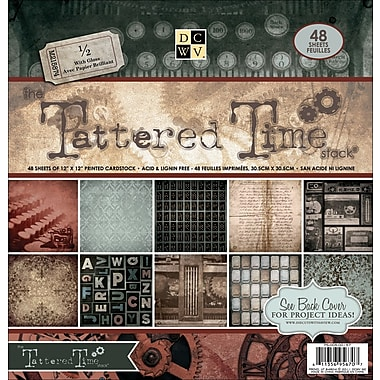 Diecuts With A View® Tattered Time Paper Stack, 12in. x 12in., 48/Pack