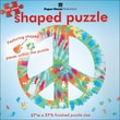 Paper House 27in. x 27in. Jigsaw Shaped Puzzle, in.Peace Sign Tie Dyein.