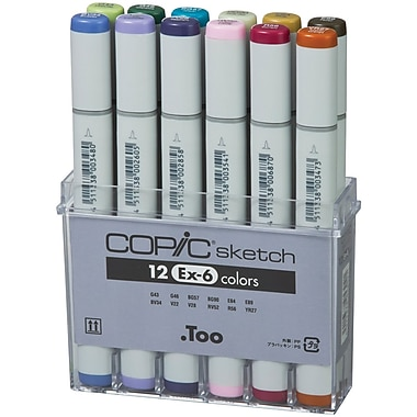 Copic® Marker 12 Piece EX 6 Sketch Markers Set