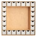 Kaisercraft Beyond The Page MDF 13in. x 13in. ShadowBox With Drawers Advent Calendar, Beige