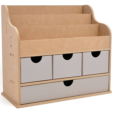 Kaisercraft Beyond The Page MDF 11 1/4in. x 12 1/2in. x 7in. Large Desk Organiser, Beige
