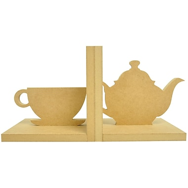 Kaisercraft Beyond The Page MDF 5 1/2in. x 5 1/2in. x 5in. Tea Cup Bookends, Beige