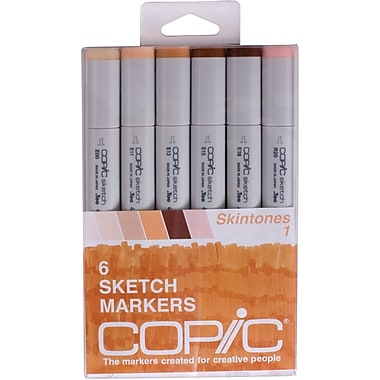 Copic Marker Twin Tip Point Permanent Marker, Assorted, 6/Pack