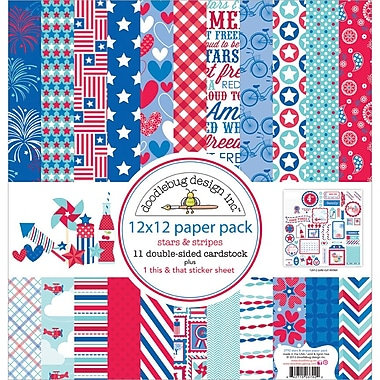 Doodlebug Stars & Stripes Paper Pack, 12in. x 12in., 3/Pack