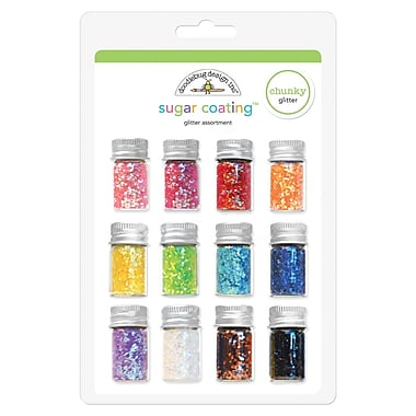 Doodlebug Sugar Coating Assortment Chunky Glitter Bottles, 5 g