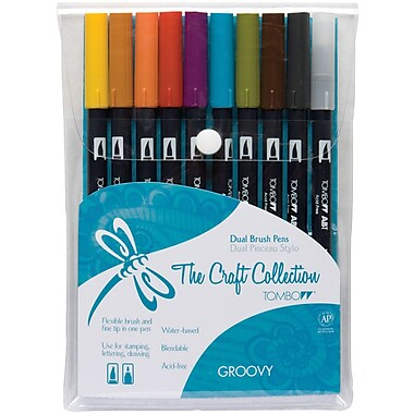 Tombow Groovy Twin Tip Point Water-Based Marker, Assorted, 10/Pack