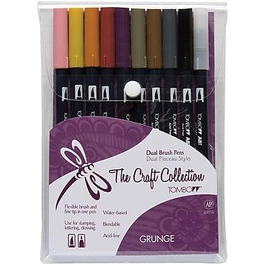 Tombow Grunge Twin Tip Point Water-Based Marker, Assorted, 10/Pack