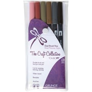 Tombow Grunge Twin Tip Point Water-Based Marker, Assorted, 6/Pack