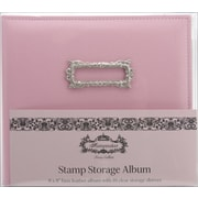 Teresa Collins 8 x 8 Stamp Storage Leather Album With 10 Sleeves, Pink