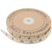 "Creative Impressions TWILL-80486 25 yd x 0.375"" Straight Printed Twill Antique Ruler, Beige/Black"