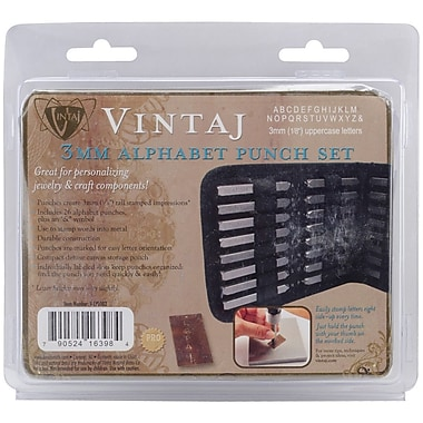 Beadsmith® Vintaj 3 mm Alphabet Punch Set W/Case, 1/8in. Uppercase Letters