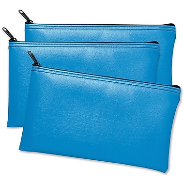 MMF Industries Leatherette Vinyl Zipper Wallet, Blue