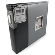 We R Memory Keepers Designer 3-Ring Album With Window, 12 x 12, Black