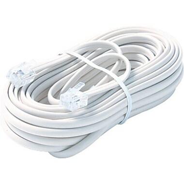 STEREN® BL-324 100' Premium Telephone Line Cable, White