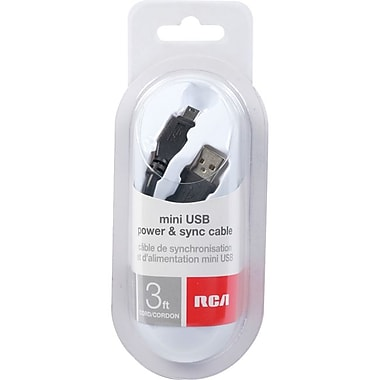 RCA 3' Sync/Charge USB Data Transfer Cable, Pill Package, Black