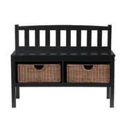 SEI 28 1/2 x 36 x 14 1/4 Bench With Storage Rattan Baskets, Black/Brown