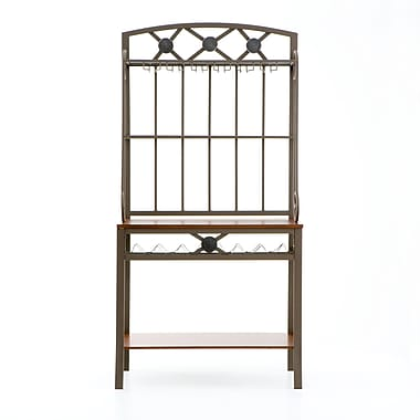 SEI 67 3/4in.H x 34 1/4in.W x 17in.D Decorative Metal/Glass Baker's Rack With Wine Storage, Coffee Brown