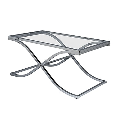 SEI 20in.x42in.x24in. Metal Rectangle Vogue Chrome Cocktail Table, Clear
