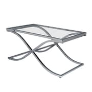 "SEI 20""x42""x24"" Metal Rectangle Vogue Chrome Cocktail Table, Clear"