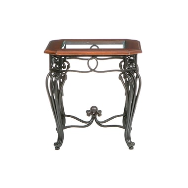 SEI Prentice Metal End Table, Clear Glass, Each (CK7542)