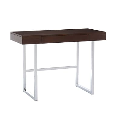 SEI Brooklyn Wood Veneer Desk, Espresso/Chrome